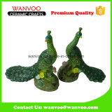 Couples of Ceramic Animal Peacock Statue for Couples Room Decoration