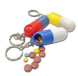 ABS Material Capsule Shape Pill Box with Keyring (PI-006)