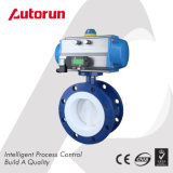 Fluorine Lined Pneumatic Flange Butterfly Valve