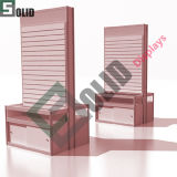 2-Way Slatwall Display Cube Fixtures for Floor/Slatwall Kiosk/I-Shaped Maple Retail Store Fixtures with Drawer