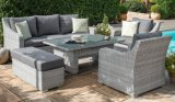 3 Seat Sofa Dining Set - with Rising Table & Weatherproof Cushions