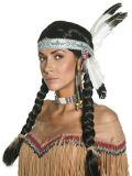 Native American Squaw Black Wig with Headband Adult Halloween
