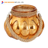 Wholesale Pumpkin Shape Electroplating Glass Jar Candle Holder with Hemp Rope