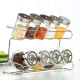 Nine Piece Glass Spice Rack with Metal Shelf for Kitchen Implements