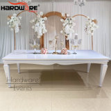 Rectangle Shape White Iron Metal 12 Seats Luxury Tables Wedding