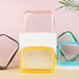 High Quality PVC Waterproof Clear Handing Easy Clean Zipper Storage Travel Safe Clear Makeup Bag