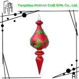 European and American Hot Selling Water Drop Glass Ornament, Traditional Red with Green Leaves, Suitable for Holiday Interior Decoration