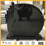 High Polished Natural Black Tombstone with Carving for Cremetery Garden