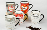 Stoneware Mugs with Decal for Home Use