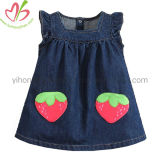 Wholesale Price Summer Jean Dress with Strawberry Applique