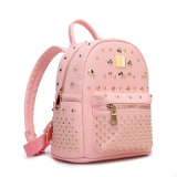 High Quality Fashion Rivet Women Leather School Backpack for Girls