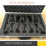 7 Pieces Wired Music Instrument Drum Kit Mic with Flight Case