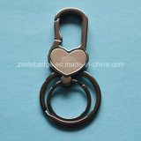 Black Nickel Alloy Keychain with Double Rings (Ele-K042)