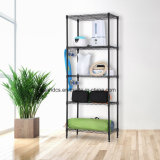 Free Standing Black Coated 5 Shelves Light Duty Household Metal Wire Storage Rack Units