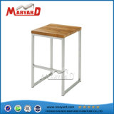 Wood Top Stainless Steel Frame Armless Kitchen High Bar Chair