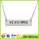 Custom Rectangle Engraved Logo Metal Charm Necklace with Chain