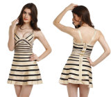 Bandage Gold and Black Flared Bandage Dress