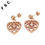 Hot Selling Rose Gold Plated Hollow out Heart Shape Earrings