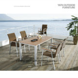 Competive Price Top Selling Outdoor Garden Aluminum+Composite-Wooden Furniture Dining Set by Chair&Table as 6-8person Seat (YT370)