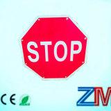 Aluminum Vintage Solar Traffic Sign / LED Flashing Road Sign Stop