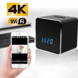4K/2K/1080P P2p IR Night Vision WiFi Hidden Bluetooth Alarm Clock Camera with Mirror Function