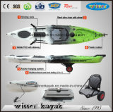 Single Sit on Top Plastic Fishing Kayak with Adjustable Foot Pedals