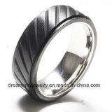 High Quality Custom Design Men′s Stainless Steel Inlay Carbon Fiber Ring