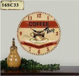 Vintage Decoration Antique Classic Coffee Design MDF Wooden Print Paper Decal Wall Clock
