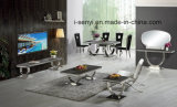 Modern Dining Room Furniture Marble Top Stainless Steel Leg Dining Table