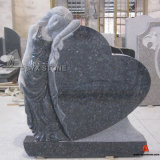 Blue Pearl Granite Leaning Angel Carving Monument Heart Tombstone