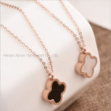 Fashion Two-Sided Colors Clover Pendant Necklace Rose Gold Alloy Necklace