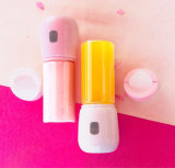 Portable Fruit Vegetable USB Mini Small Juicer Cup Blenderwith 4000mAh Rechargeable Battery 450ml Water Bottle White Pink