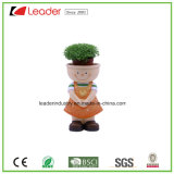 Polyresin New Lovely Girl Figurine with Flowerpots for Garden Decoration