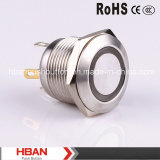 Hban (19mm) CE RoHS Ring-Illumination Flat Metal Button Switch