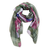 Lady Fashion Polyester Voile Printed Scarf (YKY4133)