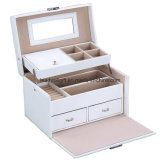 White Leather Jewelry Box Storage with Mirror and Drawers Case