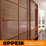 Wood Grain Sliding Bedroom Wardrobe with Lattice Glass Waist (YG16-M11)