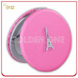 Paris Souvenir Gift PU Leather Round Compact Pocket Cosmetic Mirror