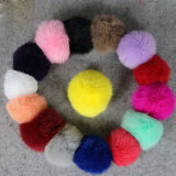 Factory Wholesale Real Rabbit Fur Pompom or Faux Raccoon Fur POM POM Ball with Snap
