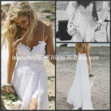 Beach Wedding Dresses Lace Chiffon Hi-Low Cheap Bridal Gowns W1499