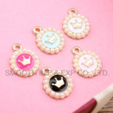 Pearl Alloy Enamel Charm Lockets Pendant for Necklace Bracelet Jewelry