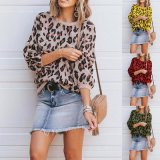 Stylish Round Long Sleeve Leopard Print Animal Pattern Women Pullover Sweater