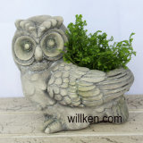 Artificial Granite Finish Owl Flower Pot Decoration