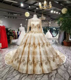 Aoliweiya Long Sleeve Gold Sparky Wedding Gown