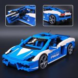 827 PCS Plastic ABS Building Bricks Lamborghini Police Toy Car for Kids