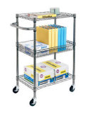 DIY Adjustable Modern Office Storage Chrome Wire Metal Cart (TR603575B3CW4)