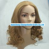 """18"""" Mono Top Full Lace Wig Best Virgin Remy Human Hair Honey Blonde #27 Loose Curly Factory Wholesale"""