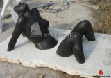 Shanxi Black Granite Abstract Lady Figurine Stone Sculptures