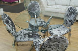 Modern Round Glass Top Dining Table Stainless Steel Cross Legs and 4 Velvet Chairs