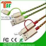 3 in 1 Charger USB Cable with 8pin /Micro/Type-C Contector